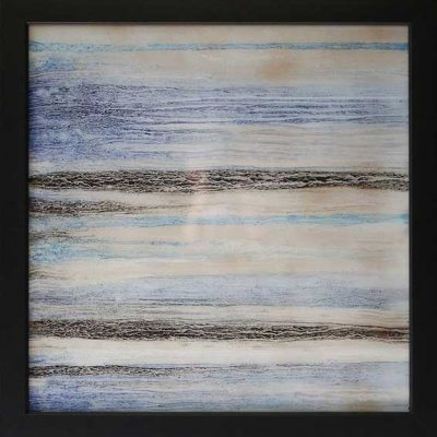 Calm Seas - Reverse painted glass, 27 x 27 (framed)