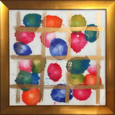 Candy Land I - Reverse painted glass, 31.5 x 31.5 (framed)