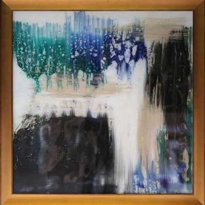 Collusions - Reverse painted glass, 41 x 41 (framed)