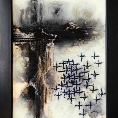 Hidden Secrets - Reverse painted glass, 17 x 22 (framed)