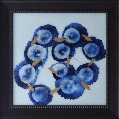 Ming Blue - Reverse painted glass, 30 x 30 (framed)