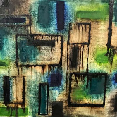 Multiform in Blue and Green - Mixed Media on Canvas, 60x48