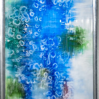 Primordial Thoughts   Reverse painted glass, 33x47