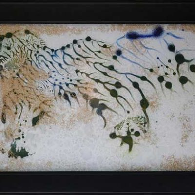 Savanna I - Reverse painted glass, 23 x 16 (framed)