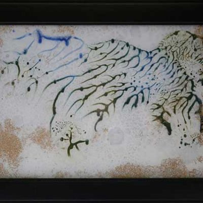 Savanna II - Reverse painted glass, 23 x 16 (framed)