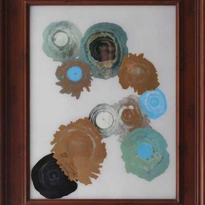 Turquoise and Gold - Reverse painted glass, 24.5 x 30.5 (framed)