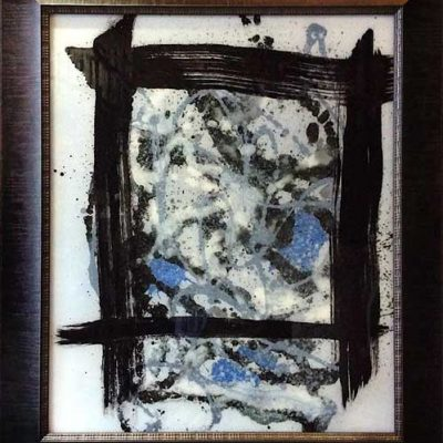 Unrestrained Chaos - Reverse painted glass, 33 x 39 (framed)